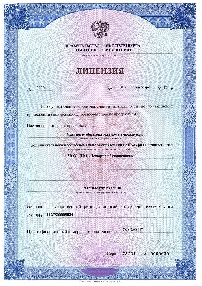 Лицензия на осуществление образовательной деятельности 2019 год
